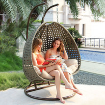 2 Person Heavy Duty Rattan Hammock Hanging Wicker Porch Swing Chair - $949.98
