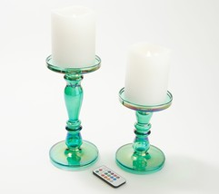 Lightscapes S/2 Iridescent Candle Holders w/ Flameless Candle  Green  AG2 - $96.99