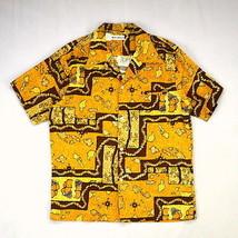 Vintage MADE IN HAWAII Golden Brown Bark Cloth Nautical Map Anchor Shirt... - $19.79