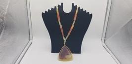 Vintage Gemstone Necklace With Jasper Autumn Medallion & Stone Pieces EUC - $48.42