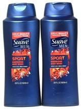2 Bottles Suave Men 28 Oz Sport Clean Rinsing Rich Lather Energizing Bod... - $24.99