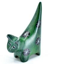 Tabaka Chigware Hand Carved Kisii Soapstone Tiny Miniature Green Cat Fig... - £7.94 GBP