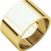 Fine 10k Yellow Gold 12 mm High Polished Flat Wedding Band Ring Size 3-16 - $386.10+