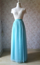 AQUA BLUE Full Length Tulle Skirt Aqua Blue Bridesmaid Tulle Skirt Weddi... - $49.99