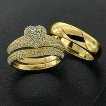 14K Yellow Gold FN 2.32 CT Diamond His-Her Trio Ring Set Engagement Wedd... - $167.99