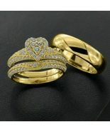 14K Yellow Gold FN 2.32 CT Diamond His-Her Trio Ring Set Engagement Wedding Band - $167.99