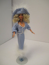 OOAK Collector Barbie Vision in Blue White Pinstriped Pearls GORGEOUS - $40.00