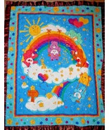 Care Bear Quilt Baby Toddler Satin Binding Blue Brown Rainbow Stars Shar... - $22.65