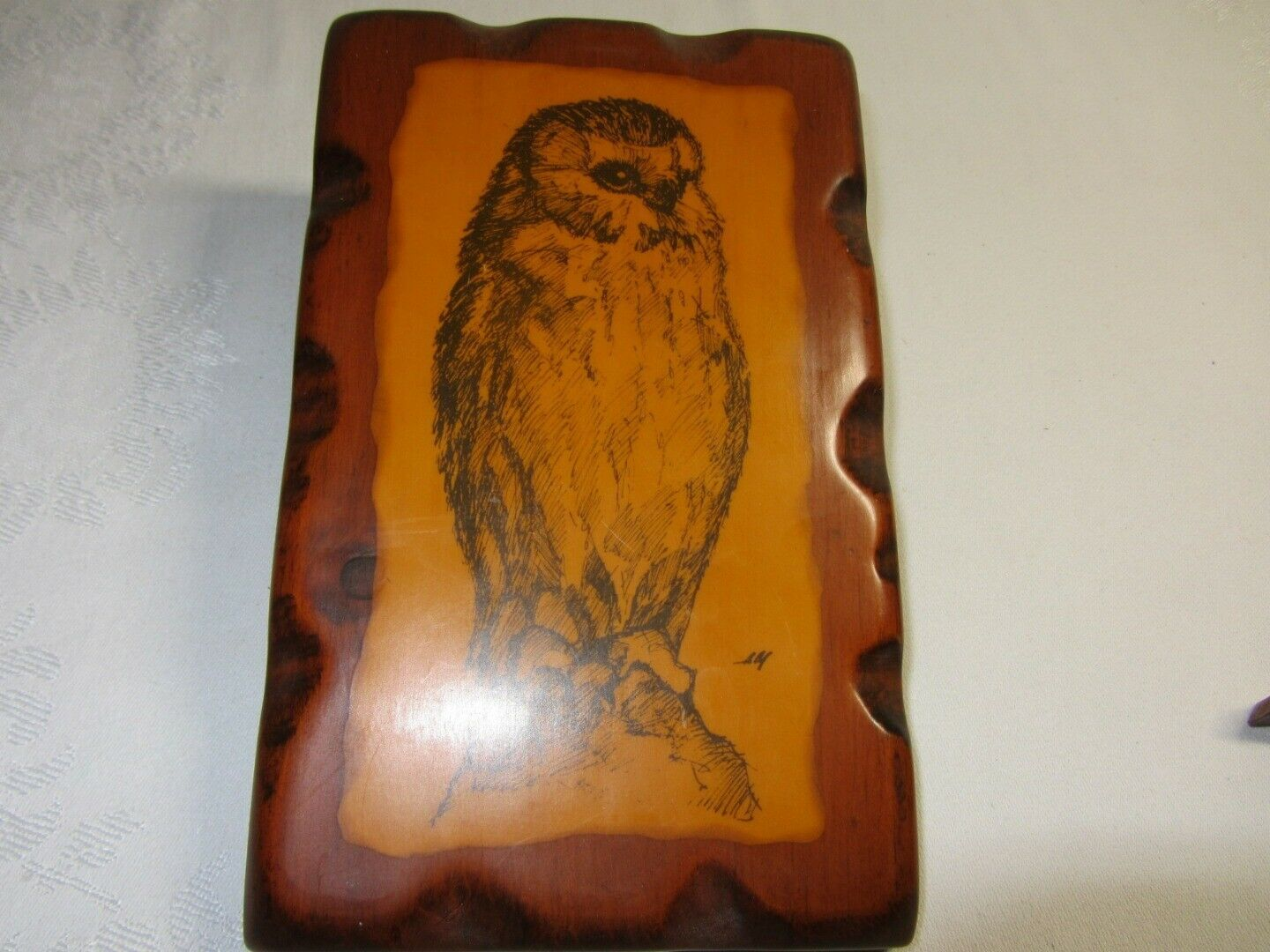 2 Vtg Retro 70s Owl Wood Plaque Rustic Art Print Wall Decor & Hand Made