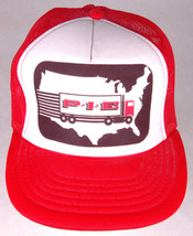 Vtg ALLIANCE TRACTOR Hat-Red Trucker Cap-Puff Letters-Mesh-Rope Bill-USA - $26.17