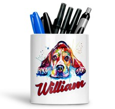 Personalised Any Text Name Ceramic Dog Pencil Pot Gift Idea Kids Adults 15 - $12.89