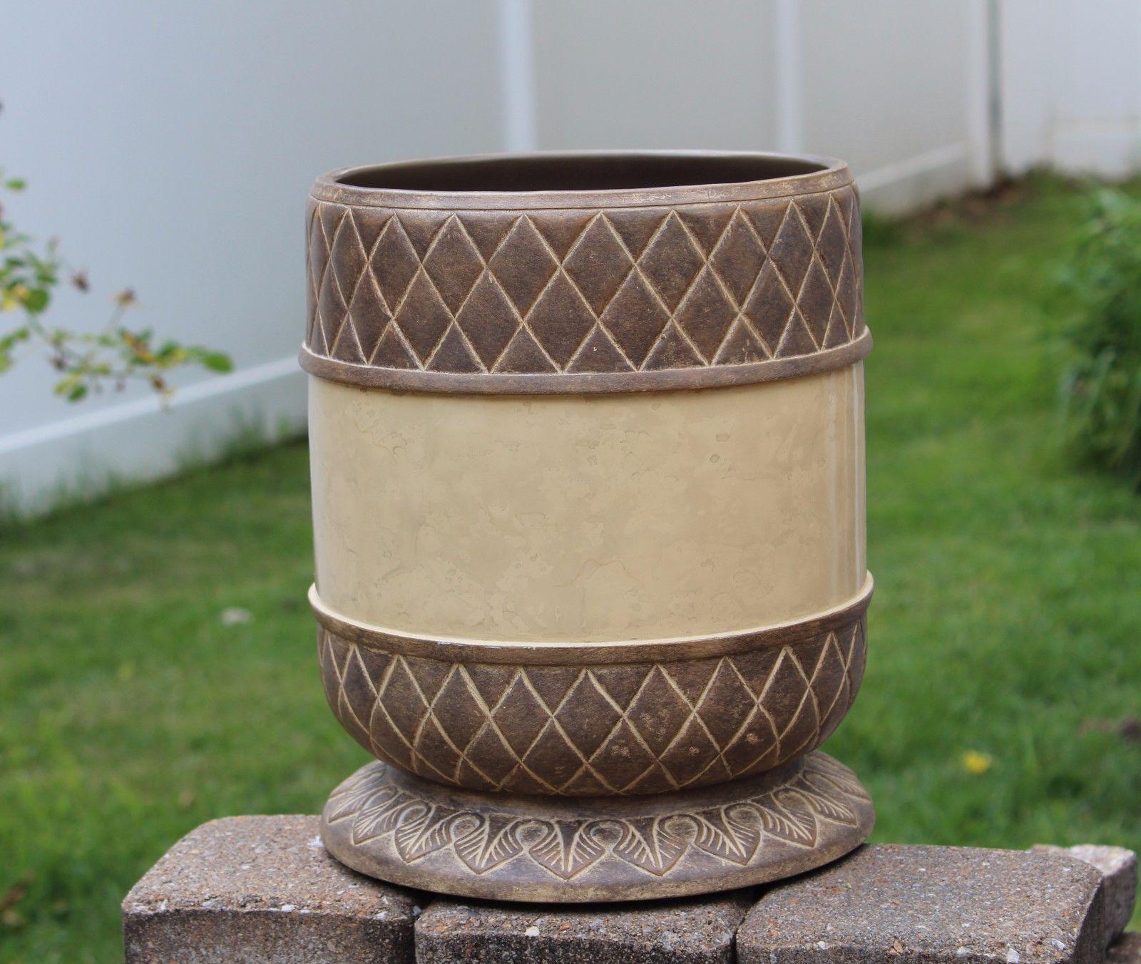Corinthian Greek Decorative Trash Can Waste Basket Bathroom Accessory Resin - $49.99