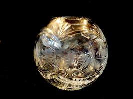 "VTG Cut Crystal round bowl ball vase floral design 6.25"" tall - $99.00"