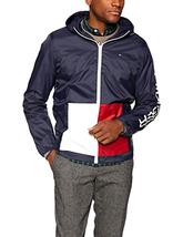 Tommy Hilfiger Men's Lightweight Hooded Block Pocket Rain Navy Jacket -C... - $89.99