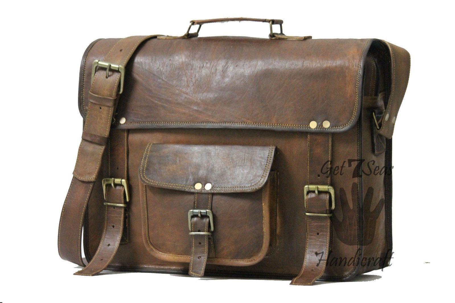 Vintage Leather Messenger Office Brown Laptop Satchel Bag Genuine Briefcase