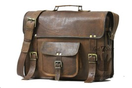 Vintage Leather Messenger Office Brown Laptop Satchel Bag Genuine Briefcase - $55.44