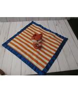 D Old Navy Fox Lovey Orange Blue White Plush Satin Trim Security Blanket - $19.79