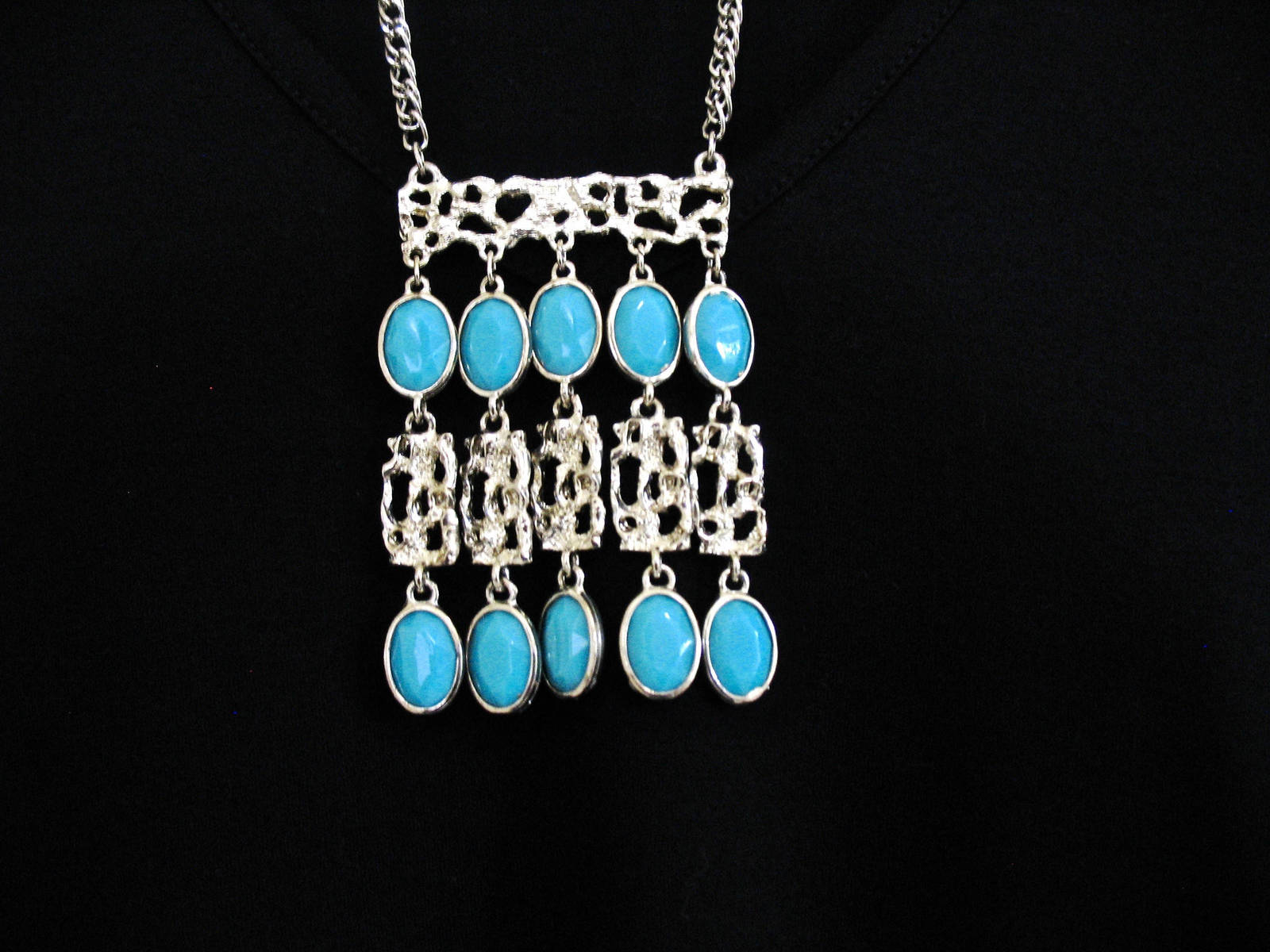 Vintage Bib Necklace, Waterfall, Egyptian Revival, Etruscan, 1970's, Turquoise D