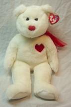 "TY Beanie Buddy SOFT WHITE & RED VALENTINO TEDDY BEAR 13"" Stuffed Animal... - $19.80"