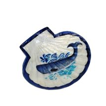 Scallop With Whale Design Capiz Shell Trinket Dish 5.5 Inches - £26.27 GBP