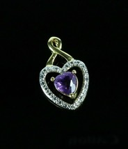 Vintage .925 Sterling Silver Purple Stone Encased Heart CZ Necklace Pend... - $16.12