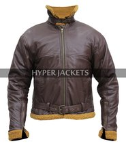 B3 Ginger Aviator Shearling Flying Pilot Real Sheepskin Bomber Leather Jacket image 2