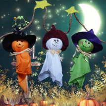 1x Halloween Festival Decor 3 Ghost Pumpkin String Banner Cloth Witch Ha... - $3.09