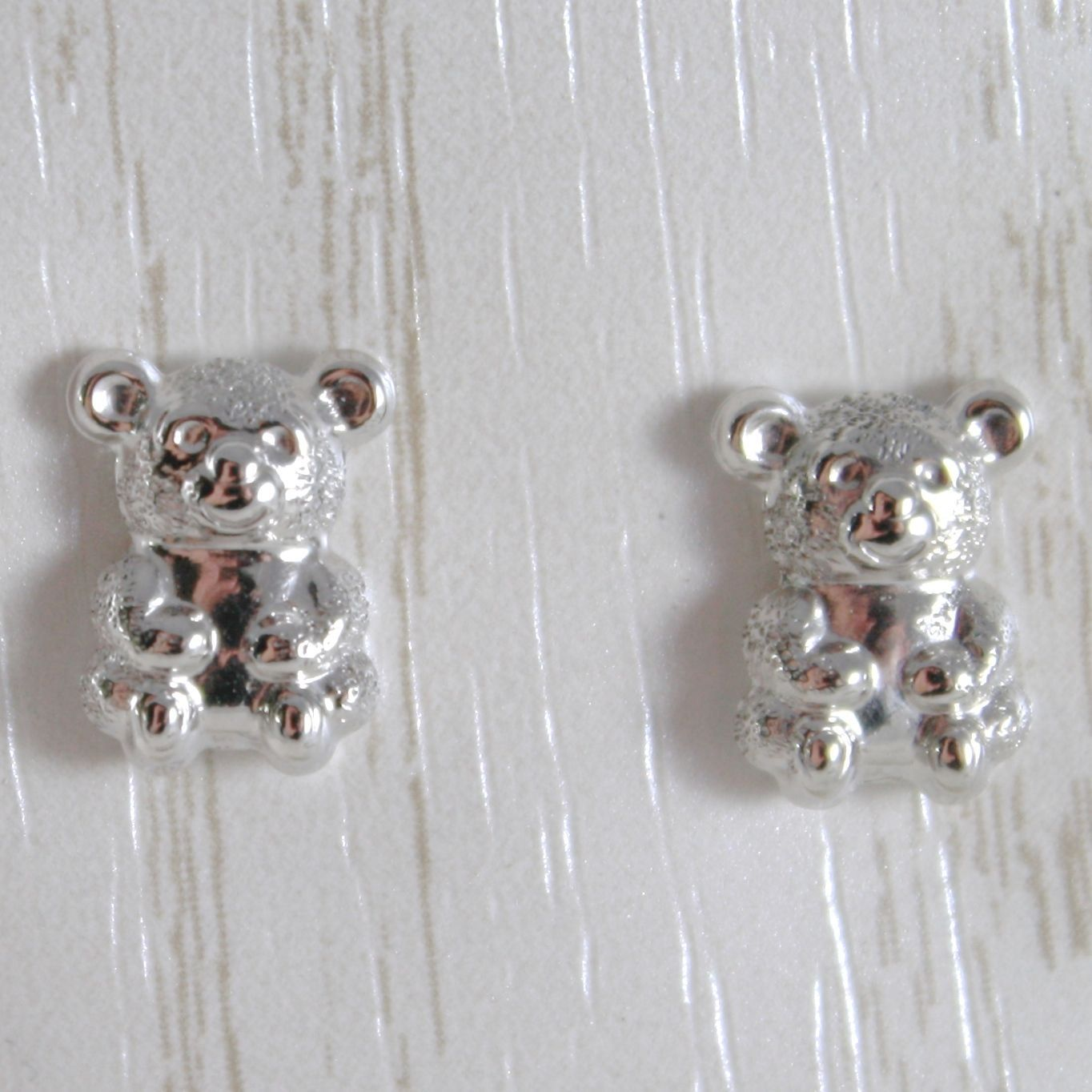 750 White Gold Earrings 18k by Baby, Bears Patinated, Length 1.0 cm