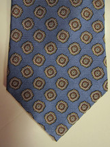 NEW Brooks Brothers Light Blue With Gold and Copper Medallions Silk Tie ... - $38.99