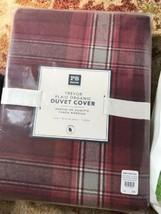 Pottery Barn Teen Trevor Plaid Duvet Cover Maroon Twin Cotton Organic No... - $79.00