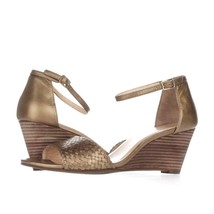 Cole Haan Rosalin Weave Wedge Ankle Strap Sandals, Gold, 9.5 US Display - $55.67