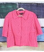 Style & Co 18 Hot Pink Eyelet Lace 100% Linen Blazer Jacket Macy's Resor... - $34.64