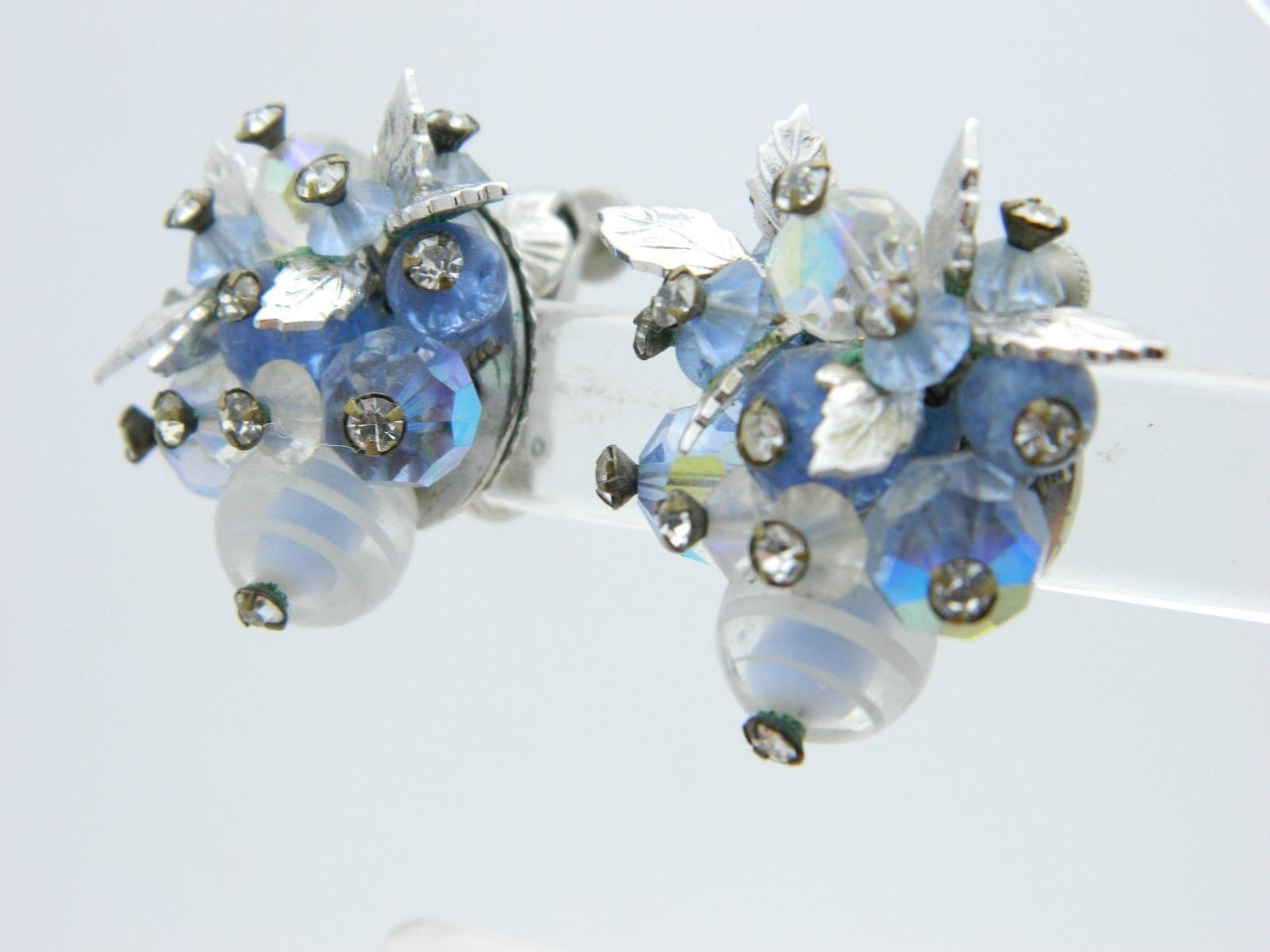 VENDOME Blue Art Glass AB Rhinestone Leaf Earrings Silver Tone Vintage