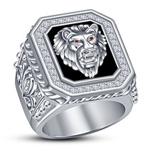 Mens White Gold Finish Engagement Wedding Lion Head Pinky White Diamond Ring - £144.51 GBP