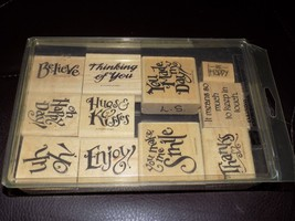 Stampin Up Everyday Expressions 1997 Enjoy Smile Thanks Stamps Set 11 EUC - $34.83