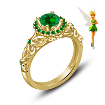 Green Sapphire Womens Engagement Ring 14k Yellow Gold Finish 925 Sterlin... - £58.87 GBP
