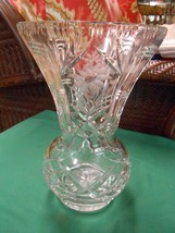 """Magnificent  Lead Crystal FLORAL Design Etched 10.5"""" height VASE - $29.11"""