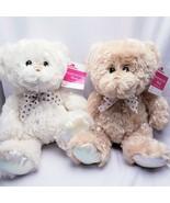 2 Sparkly Bear Plush Stuffed Animal NEW Tan & White Easter - $20.03
