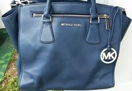 "Michael Kors large navy blue bag, H 10.5"" W 12""low + 14"" top, D 5.5"" sil... - $49.99"