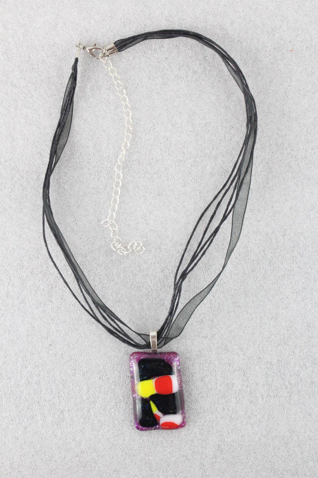 Elegant Handmade Casual Coloured Fused Glass Pendant Necklace + Cord #EM005
