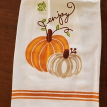 Kitchen Tie Towels, set of 2, Pumpkin Spice design, fall kitchen decor tea towel image 3