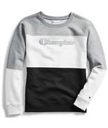 Champion Women L Powerblend Color Block Logo Sweatshirt Oxford Gray Heat... - $21.77