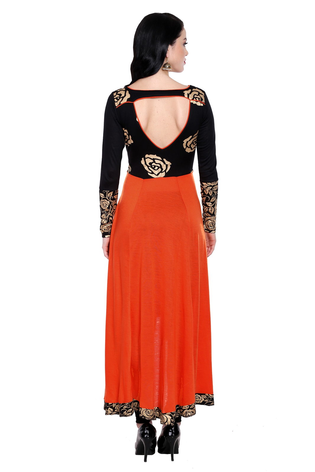 Ira Soleil kintted viscose orange high low kurti with gold flower print on black