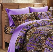 17 pc King Purple Set!!  Camo Comforter, Sheets, and Pillowcases with 2 ... - $116.04