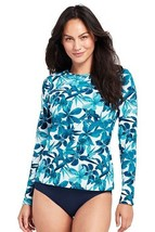 Lands End Women's LS Swim Tee Rash Guard White Deep Sea Tossed Orchid New - $39.99