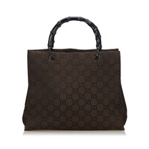 Pre-Loved Gucci Brown Dark Canvas Fabric Bamboo GG Handbag Italy - $345.02