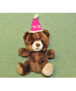 "VINTAGE RUSS BIRTHDAY BEAR - I'M 50 -10"" TEDDY STUFFED ANIMAL PINK HAT B... - $24.75"