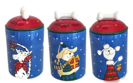 "Christmas Dog Treats Canister Jar 8"" tall x 4.5"" diameter - $19.99"