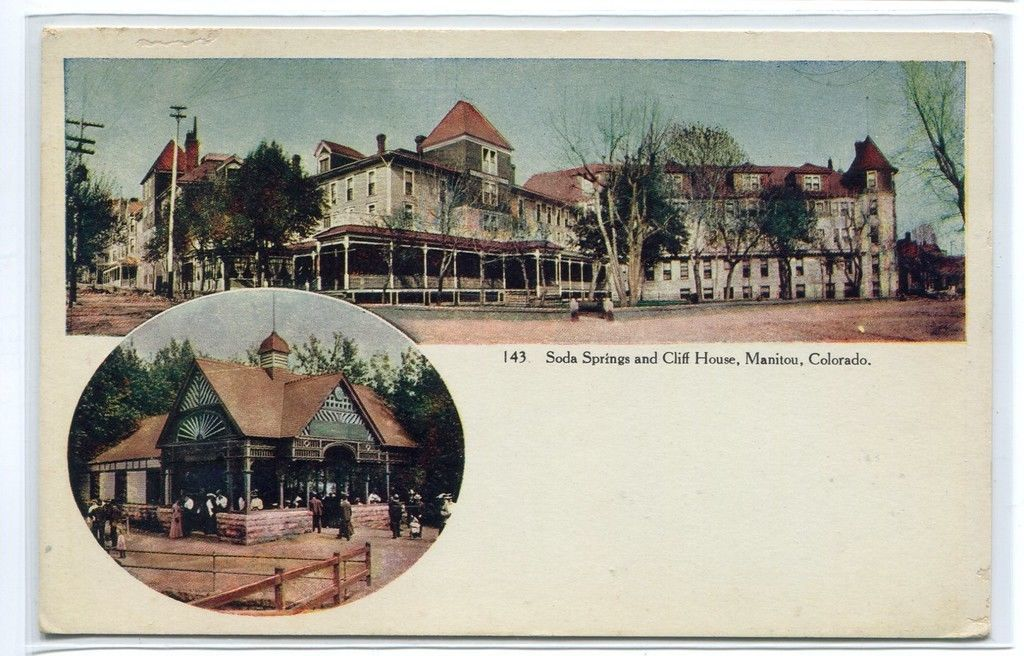 Soda Springs Cliff House Manitou Colorado 1910c postcard