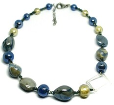 NECKLACE BLUE GRAY ROUNDED DROP, SPHERE, EXAGON MURANO GLASS SQUARE ITALY MADE image 1